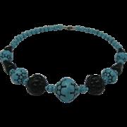 Art Deco Blue Black Glass Necklace