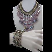 Cascading Amethyst Crystal Necklace Bracelet c1960