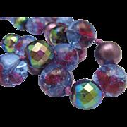 Plum Foiled Glass 2 Strand Necklace W.Germany