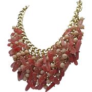 Rose Quartz Encrusted Necklace c1980