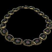Enameled Rose Necklace  1960 Choker