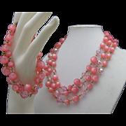Moonglow Pink Necklace Bracelet Set 1960