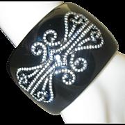 Black Celluloid Clamper Bracelet c1980