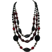 Bohemian Red Glass Three Strand Necklace