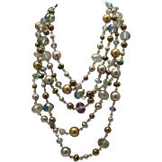 Cascading Crystal Golden Pearl Necklace c1980