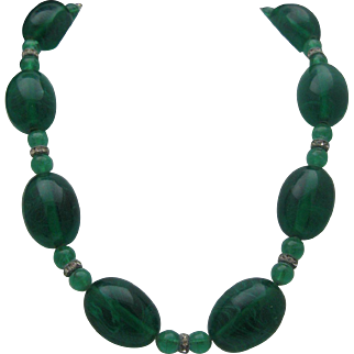 Green Glass Art Deco Necklace