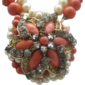Faux Pearl Coral Necklace