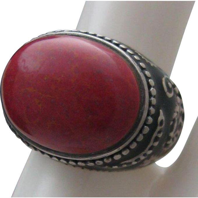 Warm Red Jasper Ring Sterling 7