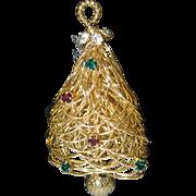 Spun Golden Christmas Tree Brooch