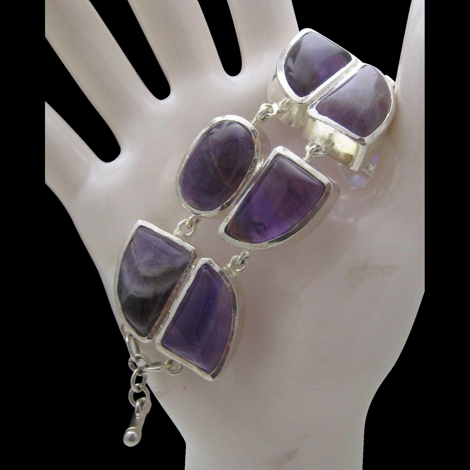 Modern Amethyst Sterling Silver Bracelet