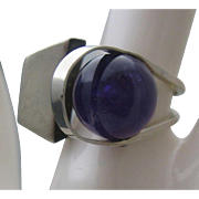 Contemporary Modern Amethyst Ring