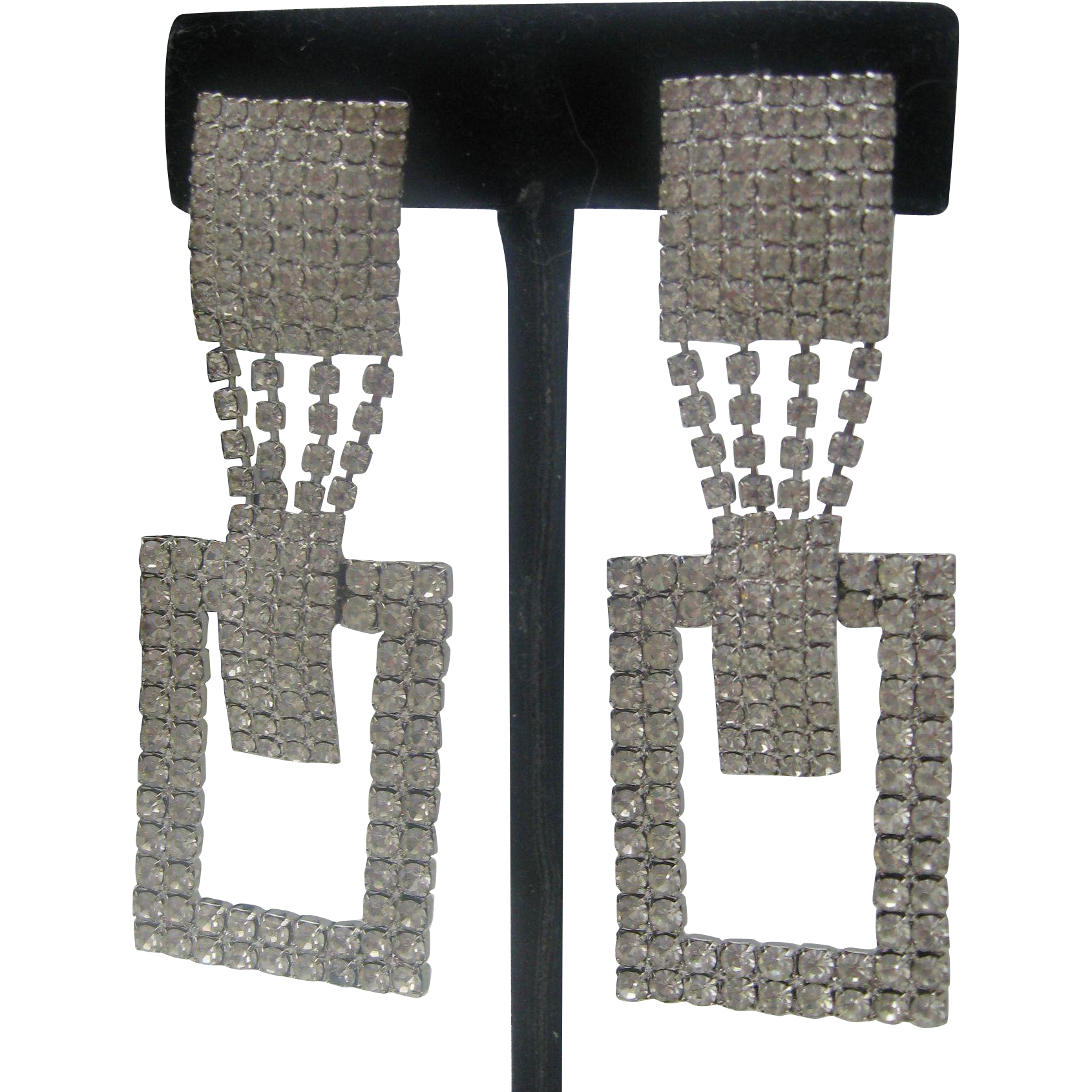Deco Style Pave Rhinestone Earrings