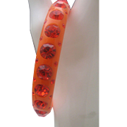 C1970 Orange Rhinestone Celluloid Bangle