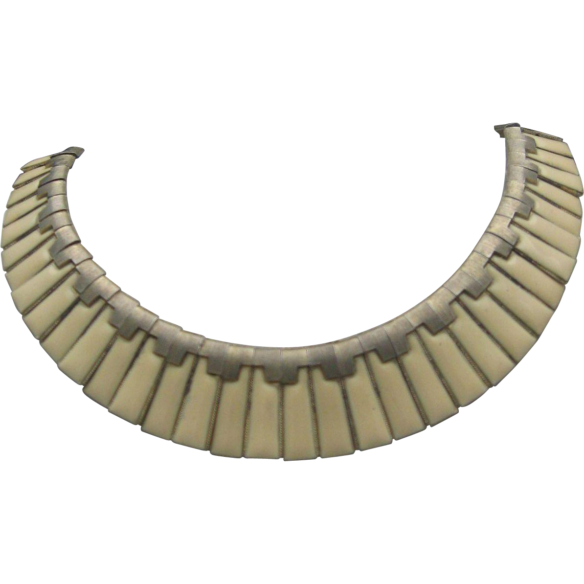 c1940 Ivory Enameled Egyptian Revival Necklace