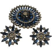 Hobe Sapphire Starburst  Brooch Earrings Set