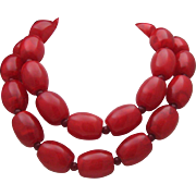 Fabulous Cherry Celluloid necklace c1980