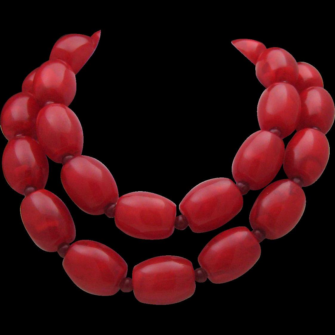 Fabulous Cherry Celluloid necklace c1980