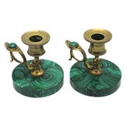 19c PAIR Malachite & Gilt Bronze Candlesticks