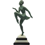 MOLINS Art Deco Bronze Nude Dancer on Marble Base