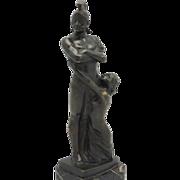 "LORENZL ""Gladiator & Nude"" Art Deco Austrian Bronze"