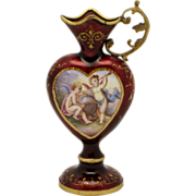 Viennese Enamel Heart Shaped Miniature Ewer