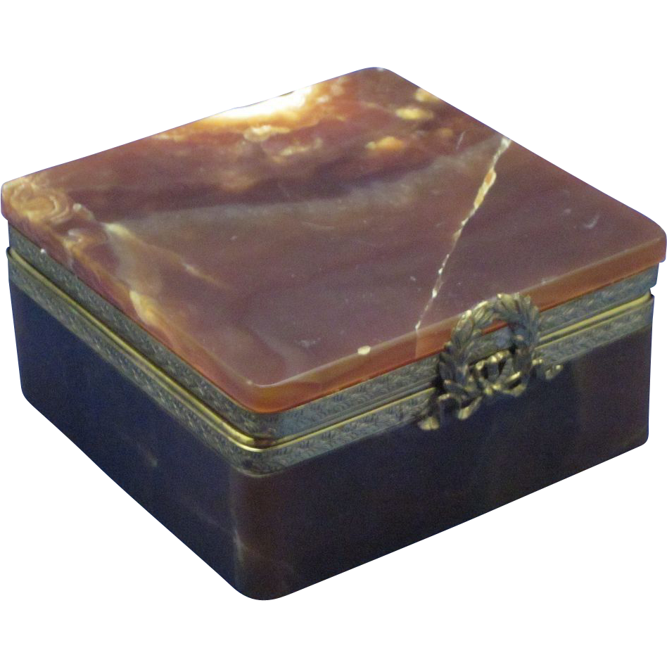 19c Ormolu & Banded Onyx French Table Box