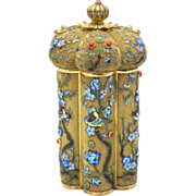 Chinese Export Silver & Enamel Tea Caddy w/ Coral & Turquoise Cabochons