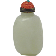 FINE Chinese White Jade Pebble Form Snuff Bottle