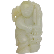 Antique Chinese Jade Carving Pendant of a Child