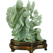 FINE Chinese Jadeite Jade Figure of Two Monks & Dragon w/ Wire Inlaid Stand