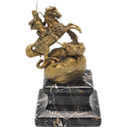 KAUBA Vienna Bronze St. George & Dragon Figure on Marble Plinth
