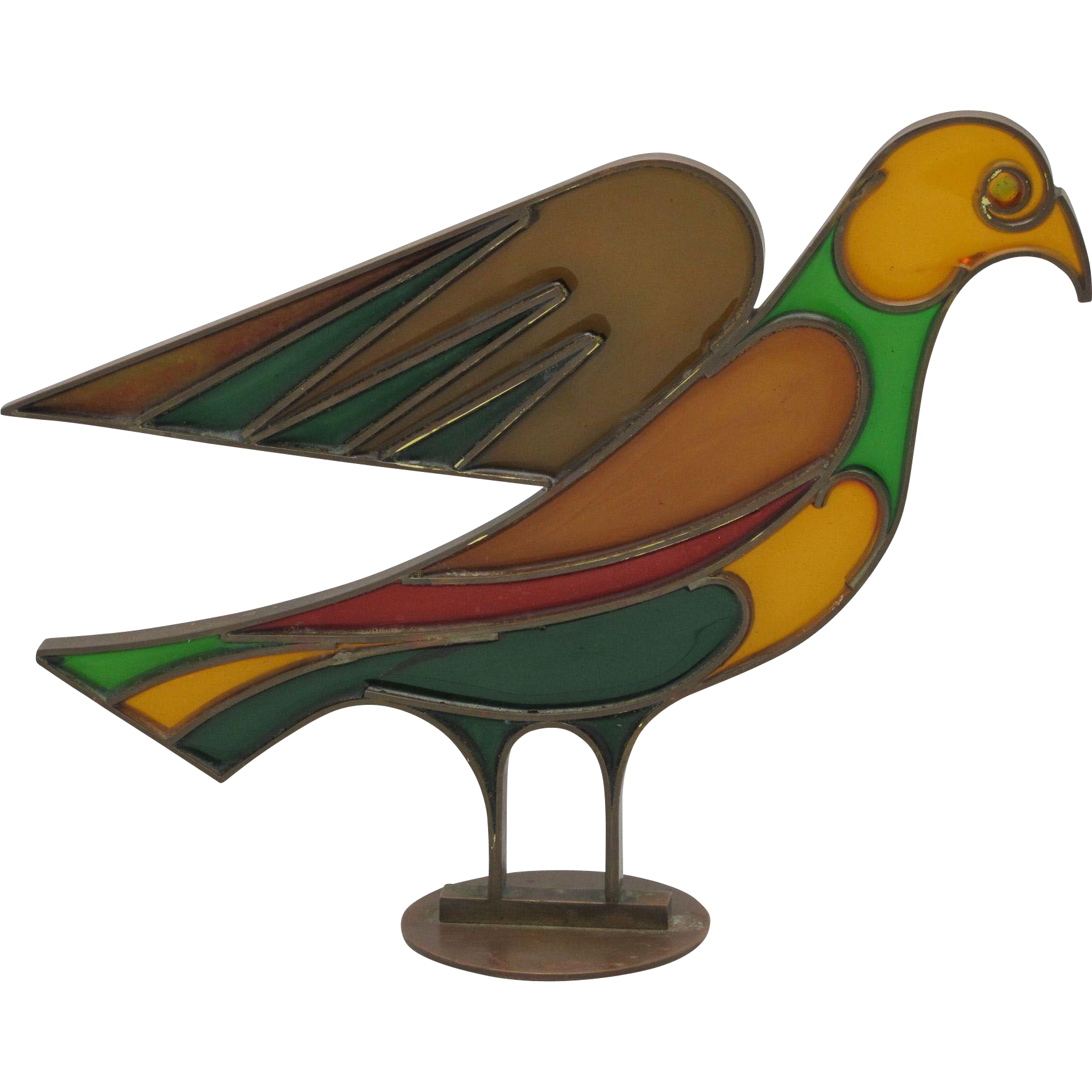 HAGENAUER Vintage Brass and Stained Glass Dove - Mid Century Modern