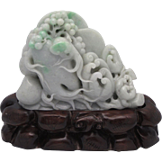 HEAVY 5 lb Vintage Lavender Jadeite Jade Chinese Figure - Buddha's Hands & Lotus Root
