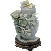 EXQUISITE Vintage Chinese Carved Jadeite Jade Lidded Vase