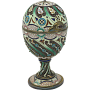 Exquisite Russian Enamel & Jeweled Silver Egg Box on Stand