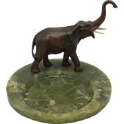 Antique Vienna Bronze Elephant on Onyx Tray, Desk Office Set