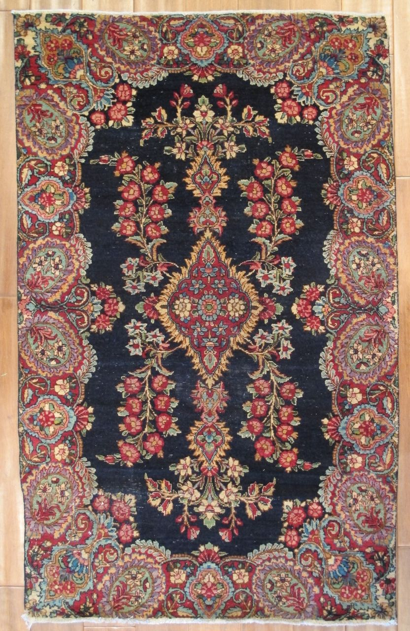 "Antique Persian Kerman Hand Knotted Rug 4' 10"" x 3' 1"""