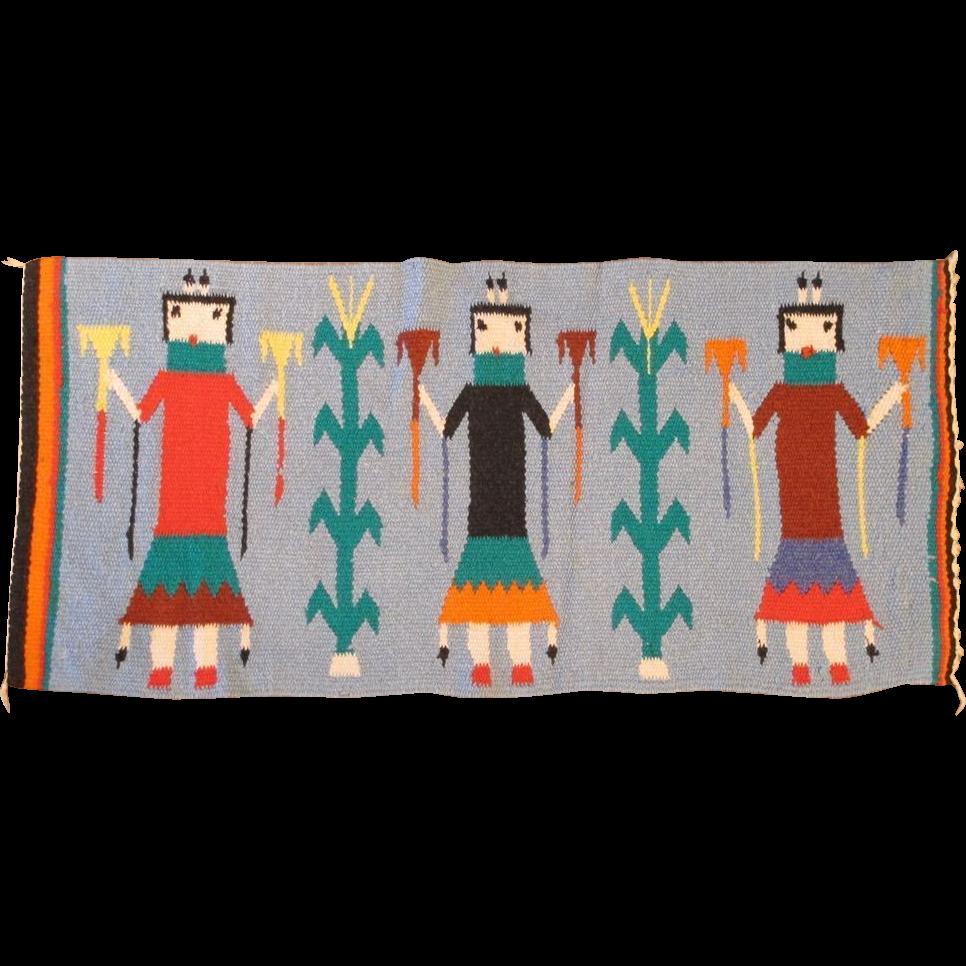 "Native American Navajo Pictorial Rug 3' x 1' 6"""