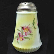 Antique Glass Sugar Shaker Sifter Muffineer Orchids