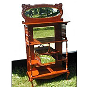 Victorian Oak Etagere With Gallery and Mirrors Ornate Antique Vintage