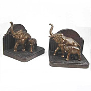 Vintage Art Deco Bronzed Elephant Bookends Nuart NY