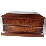 Walnut Inlaid Dresser Box Wooden 19th Century Antique