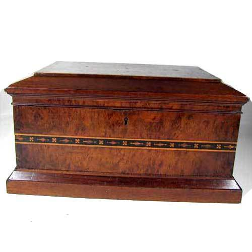 Walnut Inlaid Dresser Box Wooden 19th Century Antique