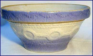 Vintage Blue & White Stoneware Wedding Ring Bowl 1900s