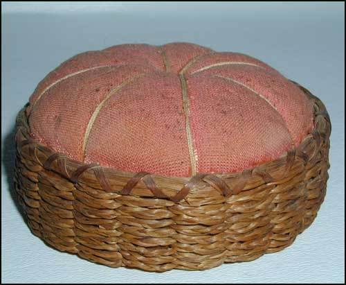 Sweet Grass Basket Pin Cushion Double Lashed Rim Antique