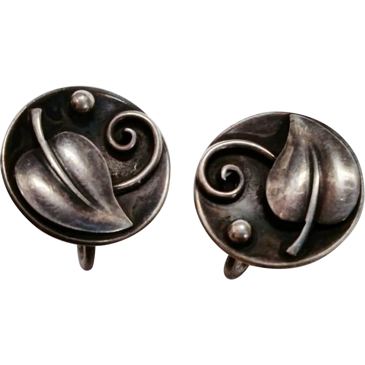 Laurence Foss Earrings Sterling Arts & Crafts 1940s