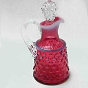 Fenton Art Glass Cranberry Opalescent Hobnail Oil Bottle Cruet