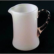 Fenton Glass Rose Overlay Creamer Pitcher Pink Handle
