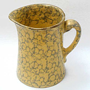 Antique Spongeware Pitcher - Yellow Ware Green Sponge Decorated - With Gilt Trim