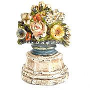 Cast Iron  Doorstop - Flower Pot Floral - Original Paint - Vintage Door Stop